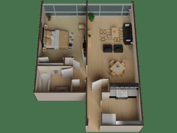 one bedroom Floor Plan for rent in Oakland Ca Merritt On 3rd