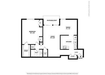 Floor Plan 1BR-1BA - A1C
