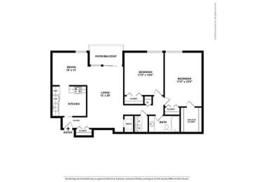Floor Plan 2BR-1BA - B1