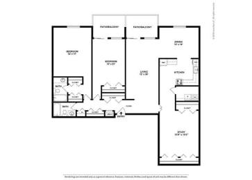 Floor Plan 2BR-2BA Den - BD3
