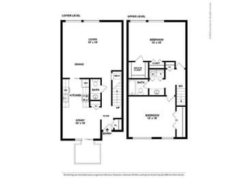 Floor Plan 2BR-1.5BA Townhouse - BTH