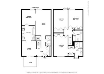 Floor Plan 3BR-2.5 Den Townhouse - CT1