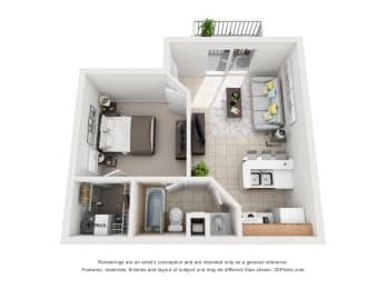 548 sq.ft. One Bed One Bath