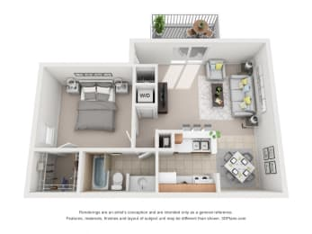 715 sq.ft. One Bed One Bath