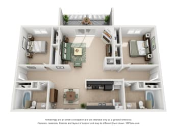 1092 sq.ft. Two Bed Two Bath