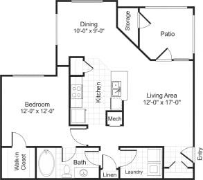 Floor Plan  A1 1 bedroom 1 bathroom floorplan at Falls Pointe at the Park Apartments in Durham, NC