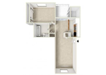 Floor Plan ONE BEDROOM-ONE BATH