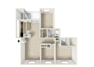 Floor Plan THREE BEDROOM-1.5 BATH