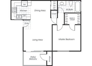 Floor Plan  One bedroom one bathroom A1 floor plan at Belmont Apartment Homes in Pittsburg, CA