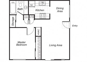 Floor Plan  One bedroom one bathroom A1 floorplan at Westchester Park Apartments in Tustin, CA