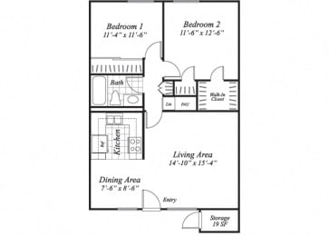 Floor Plan  Two bedroom one bathroom B1 floorplan at The Stratton Apartments in San Diego, CA