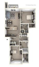 Two Bedroom Two Bath Floorplan at Copper Creek Apartment Homes, Maize, 67101