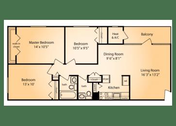 Floor Plan THREE BEDROOM ONE AND HALF BATH