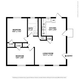 Floor Plan 2B 1BA Classic