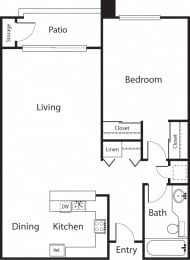 Elms Premier - 1 Bedroom 1 Bath Floor Plan Layout - 700 Square Feet