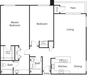 Palms Premier - 2 Bedroom 2 Bath Floor Plan Layout - 1092 Square Feet