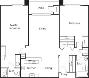 Pines Premier - 2 Bedroom 2 Bath Floor Plan Layout - 1100 Square Feet