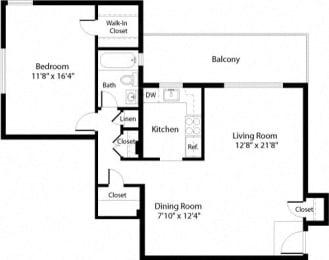 A3 Floor Plan at The Fields of Arlington, Arlington, 22204