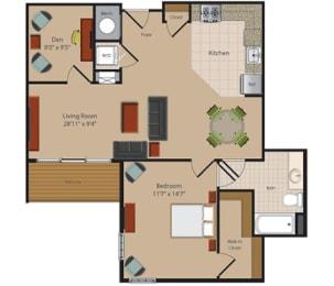 C1 1 Bedroom 1 Bathroom Floor Plan at Garfield Park, Arlington, 22201