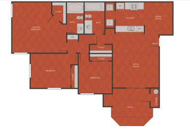 3 Bed 2 Bath Floorplan