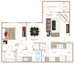 The Poplar One Bedroom Floor Plan at Summerwood on Towne Line, Indiana, 46268