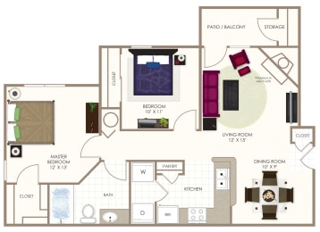 The Sycamore Two Bedroom Floor Plan at Summerwood on Towne Line, Indianapolis, IN, 46268
