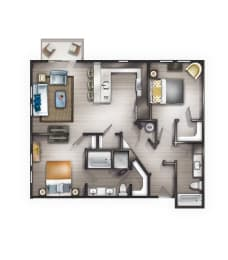 B2 Floor Plan at Peyton Stakes, Nashville, Tennessee