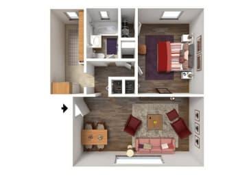 Floor Plan 1BR-1BA