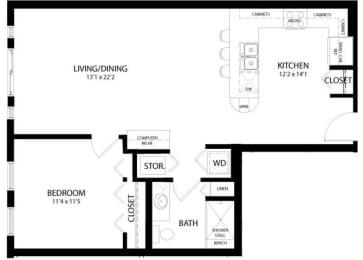 Floor Plan 1 Bedroom A