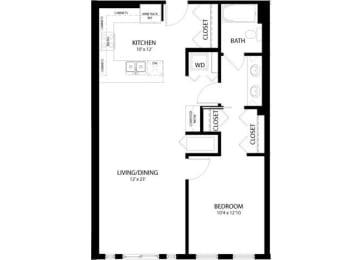 Floor Plan 1 Bedroom B