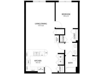 Floor Plan 1 Bedroom C