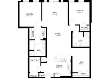 Floor Plan 2 Bedroom Den
