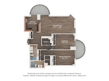 Floor Plan 2 Bedroom 01