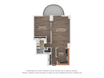 Floor Plan 1 Bedroom 06