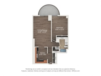Floor Plan 1 Bedroom 08