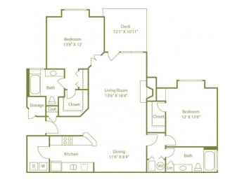Two-bedroom two bath split floor plan apartment home with laundry room, separate dining area, open living room, outdoor patio and walk in closets in each bedroom.
