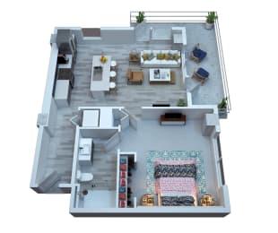 The Stewart One Bedroom Floor Plan - Clapton