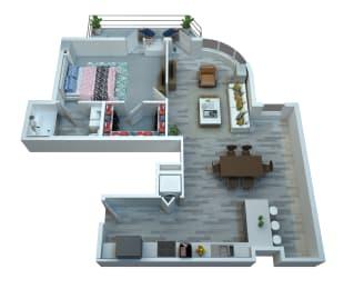 The Stewart One Bedroom Floor Plan - Elton