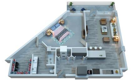 The Stewart One Bedroom Floor Plan - Harrison