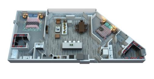 The Stewart Two Bedroom Floor Plan - Otis