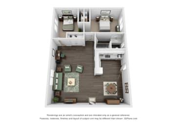 Floor plan at Marine View Apartments, California