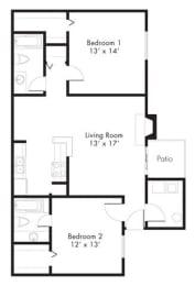 Floor Plan at Hawthorne House, Midland, 79705