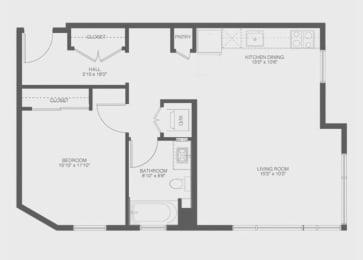 1 Bed 1 Bath Anchor Floor Plan at The Gantry, California, 94107