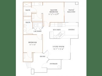 Floor Plan MONACO - 1,125 SQUARE FEET