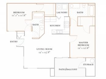 Floor Plan PALOMA - 1,150 SQUARE FEET