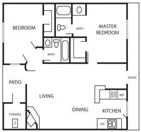 Floor Plan ANDORRA - 971 SQUARE FEET