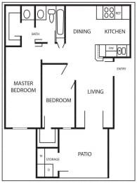 Floor Plan AVILA - 818 SQUARE FEET
