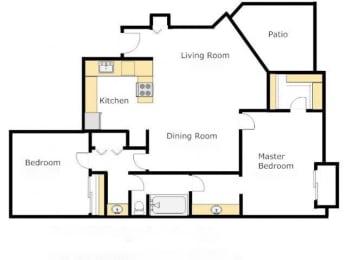 Casas Lindas two bedroom apartment 2A- Agave - Floor Plan