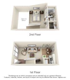 Floor Plan 1 Bed Loft