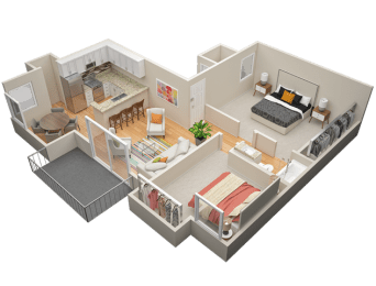 Two Bedroom / One Bath A Floor Plan at The Trails at San Dimas, 444 N. Amelia Avenue, CA